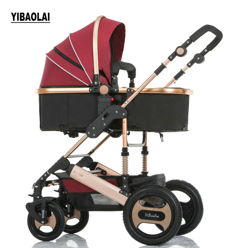 YIBAOLAI Baby Stroller High landscape Lift Can Lie Down Light Folding Baby Trolley Child Four Wheel Baby Carriage