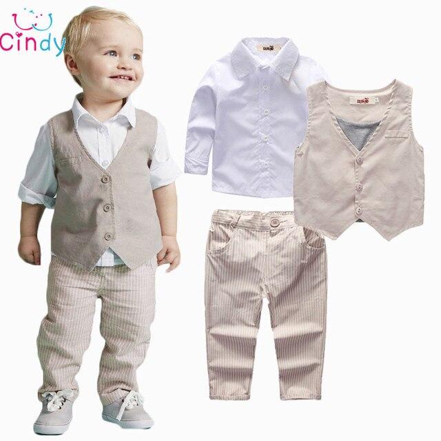2017 Boys Clothing Sets Autumn Spring Shirt + Vest + Pants Boys Wedding Clothes Kids Gentleman Leisure Handsome Suit Free Ship