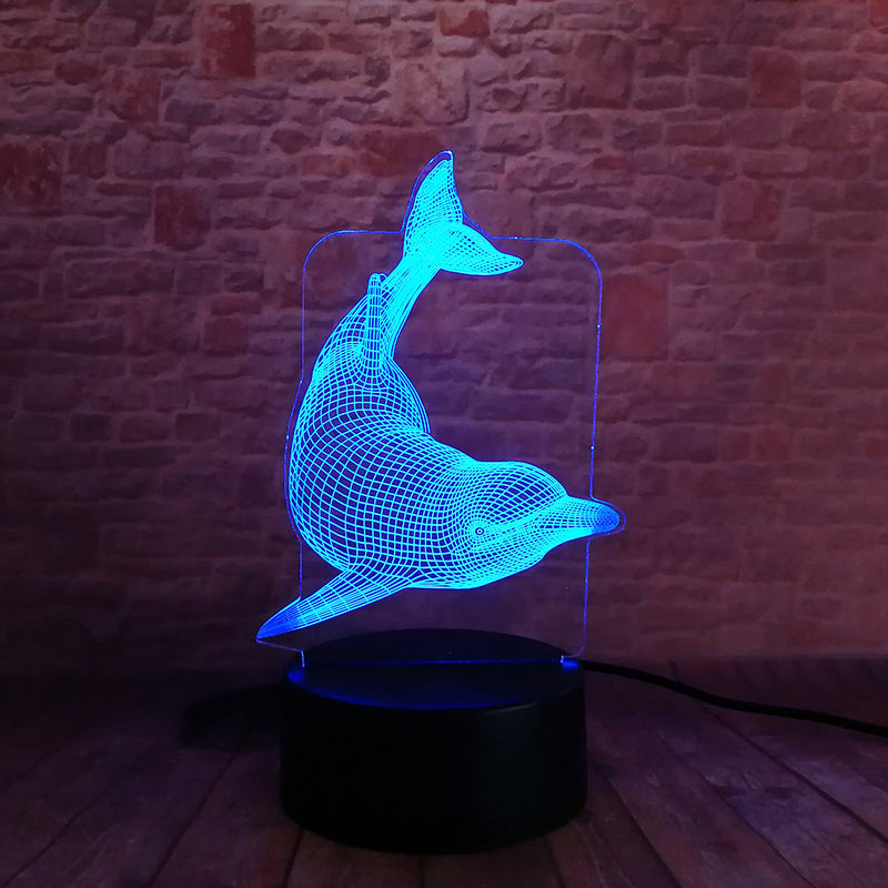 Dolphin Model 3D Nightlight Visual Illusion LED Colourful Flashing Light Glow in the Dark Nigh Dolphin Creative Decor Toys