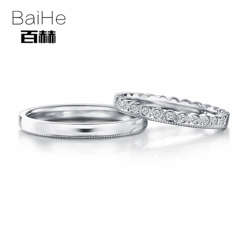BAIHE Solid 18K White Gold 0.15CT Certified H/SI Round 100% Genuine Natural Diamonds Wedding Women Jewelry Trendy Couple Ring