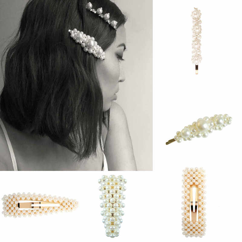 Wholesale 2019 Fashion Women Full Pearl Hair Clips Snap Barrette Stick  for Women Ladies Elegant Jewelry Hairgrips