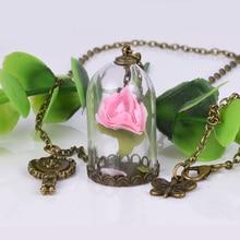 Rose Glass Bottle Necklace