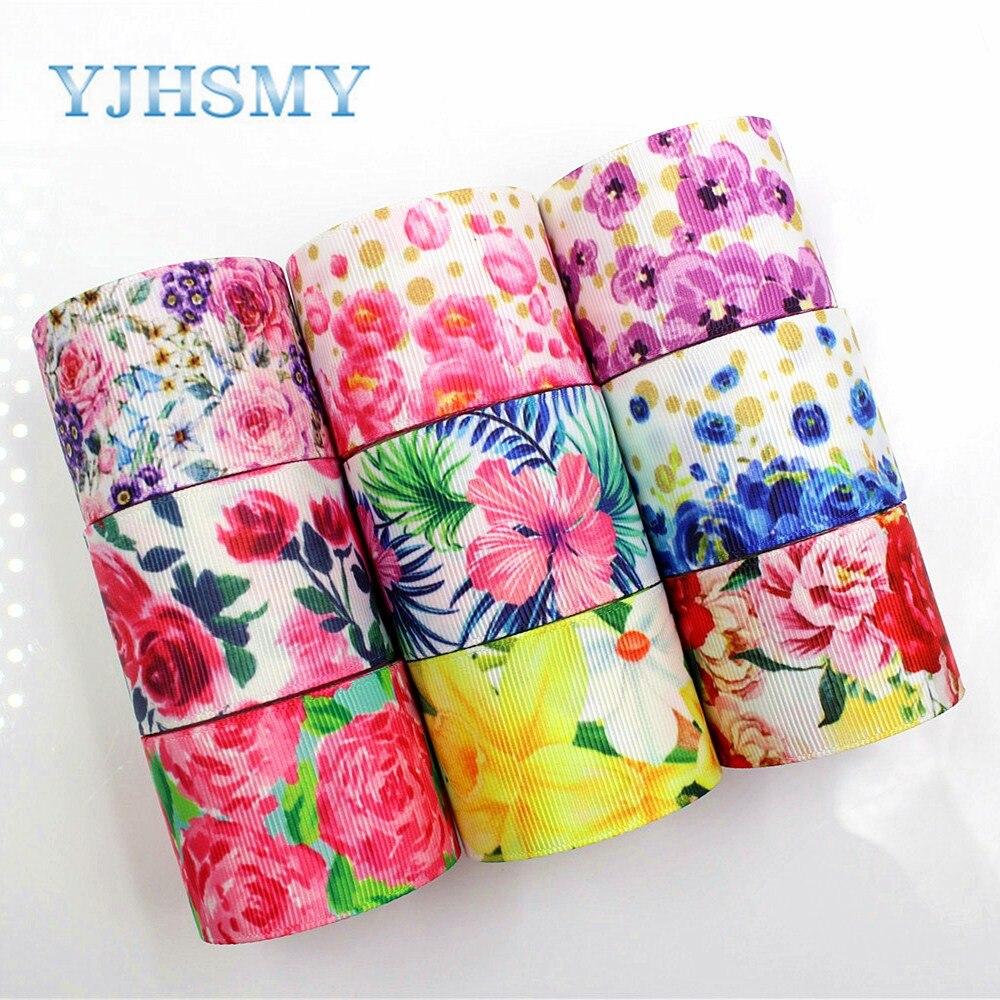 YJHSMY C-18317-51, 38 мм 5 ярдов Весна с цветочным принтом ленты в крупный рубчик, ручной работы, аксессуары для волос, подарочная упаковка Материал