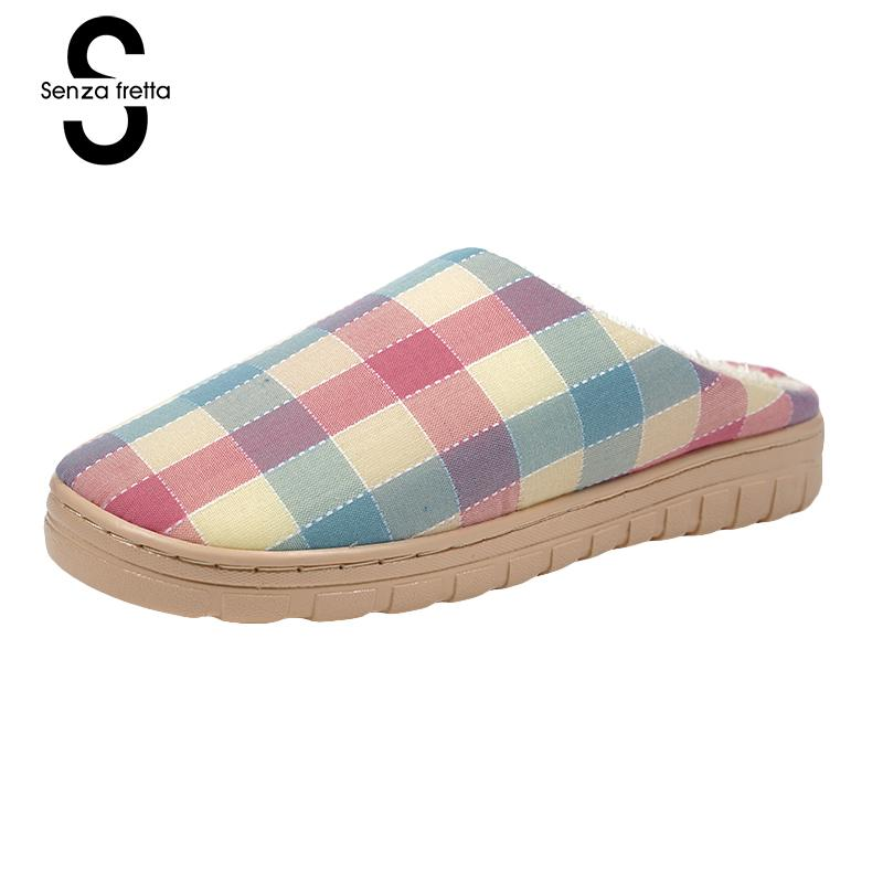 Senza Fretta Winter Women Plush Slippers Indoor Plaid Linen Slippers Non-slip Soft Warm Slippers Indoor Couple Floor Soft Shoes soft plush big feet pattern winter slippers