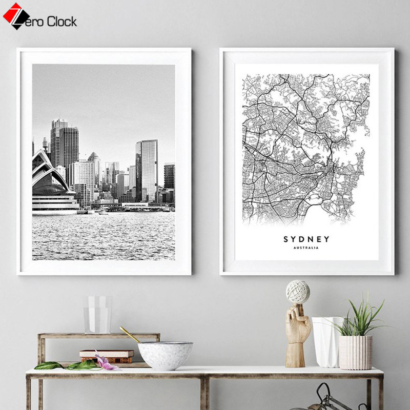 <font><b>Sydney</b></font> City Scenery Canvas Painting Australia Map Print Travel Poster Black and White Wall Art Wall Pictures for Living Room image