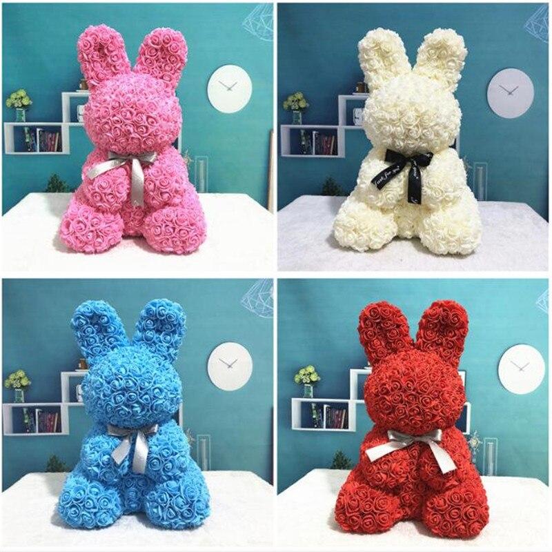 Пасхальный кролик 35 см/40 см, имитация розы, кролик в форме животного, роза, прекрасный подарок, украшение для дома на Пасху без коробки