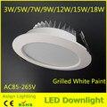 O envio gratuito de 3 w-18 w levou downlight, alto brilho de teto rebaixado luz, lâmpadas SMD5730 plafond para casa AC110V/220 V/85-265 V