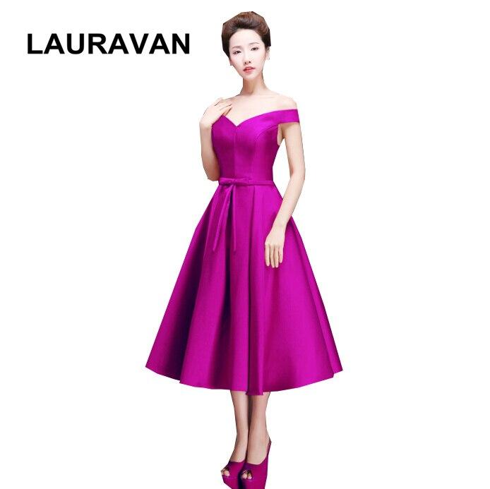 Belle modeste unique violet bleu bateau cou thé longueur satin robes de demoiselle d'honneur élégante robe courte pour les femmes livraison gratuite