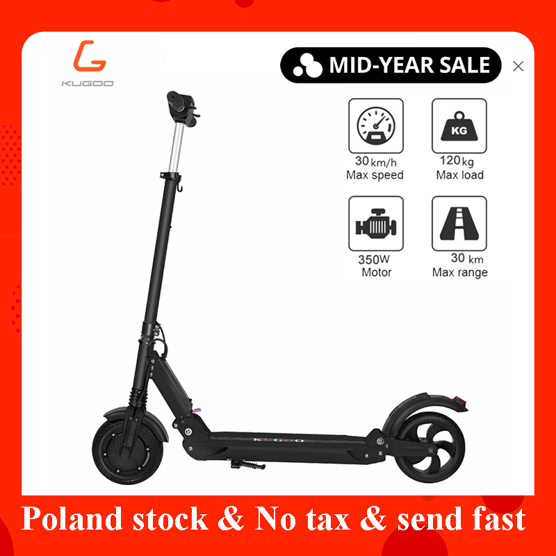 2019 duty free KUGOO S1 plegable electrico adulto patinete scooter 350 W Motor Dobrável 8 Polegadas 30 KM Quilometragem withT -bar tela de LCD