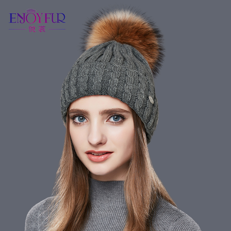 ENJOYFUR Natural Raccoon Fur Pom Poms Hat Female Warm Wool Women's Cap Twist-type Knitted Girl Winter Hats 2018   skullies     Beanies