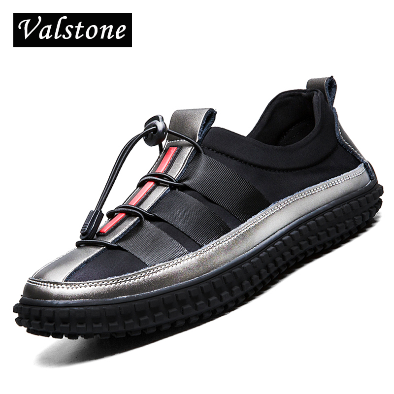 Valstone 2018 NEW Arrival Quality slip on sneakers Men stretch fabric & elastic drawcord Shoes british style flats silver colors