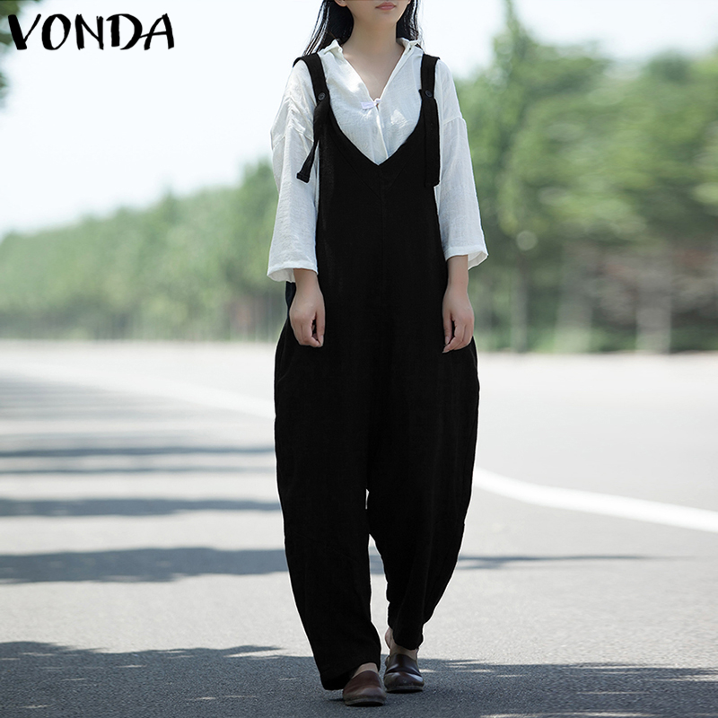 VONDA Rompers Womens Jumpsuit 2018 Autumn Casual Loose Cotton Playsuits Solid Sexy V Neck Vintage Long Overalls Plus Size
