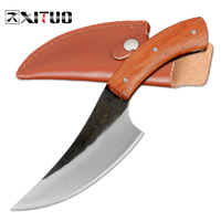 XITUO EDC Utility hunting knife Very sharp High carbon steel Handmade knife 24cm 58HRC Rosewood survival tactical rescue tools