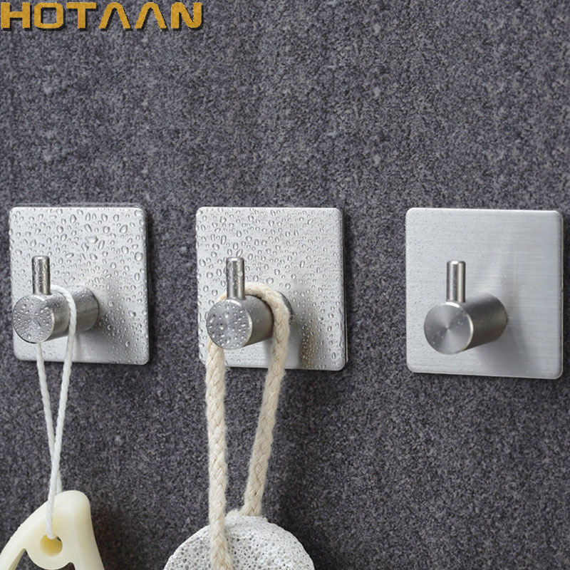 Satin Nickel Finish Stainless Steel Wall Hooks Clothes Hanger Towel Coat Robe Hook Self Adhesive Kitchen Bathroom Accessories