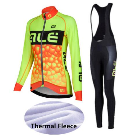ALE Cycling Set Women Winter Thermal Fleece Long Sleeves Cycling Jerseys Ropa Maillot Ciclismo Bicycle Bike Cycling Clothing T06