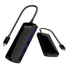 Wavlink мини 6 в 1 USB 3.0 концентратор с адаптером питания Многофункциональный USB-C концентратор с Тип-c 4 К видео HD HDMI адаптер Мощность доставки
