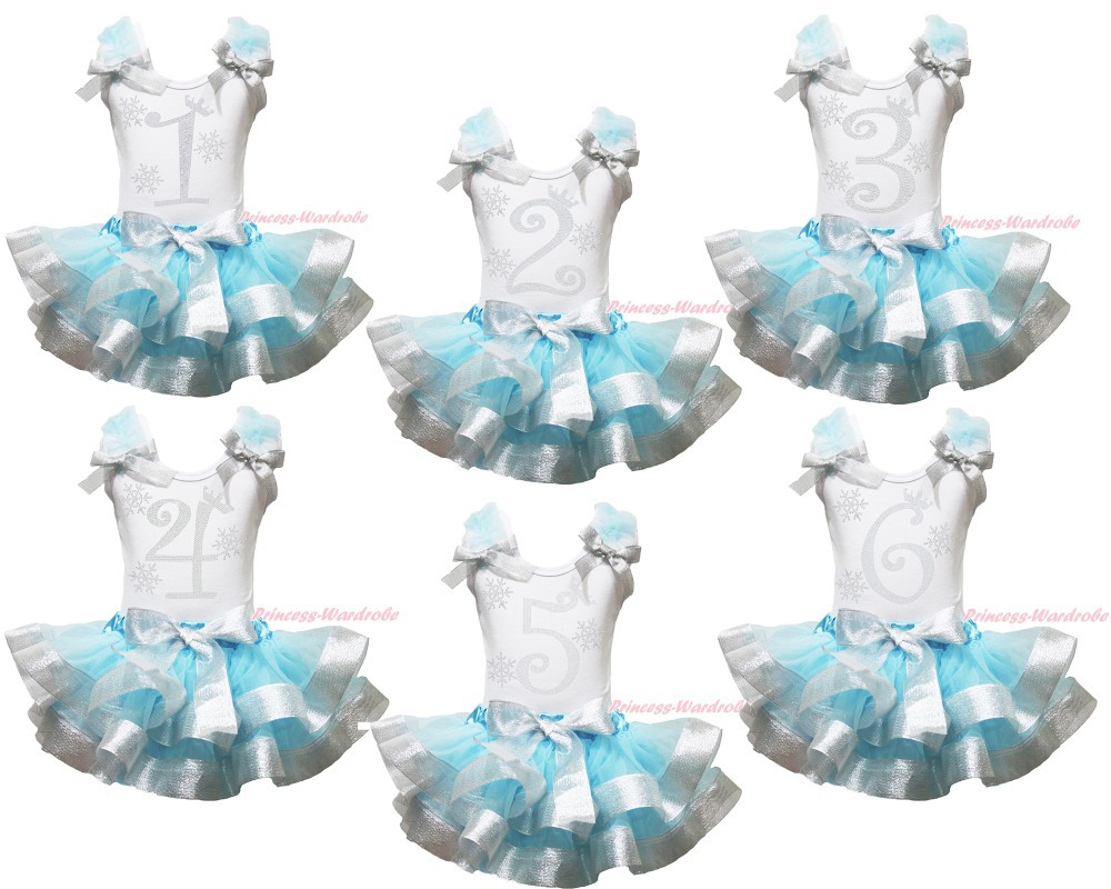 Snowflakes Birthday 1ST 2ND 3RD Top Blue Silver Satin Trim Skirt Girl Set NB-8Y MAPSA0858 st patrick s day green clover white top satin trimmed baby girl skirt set 1 8y mapsa0394