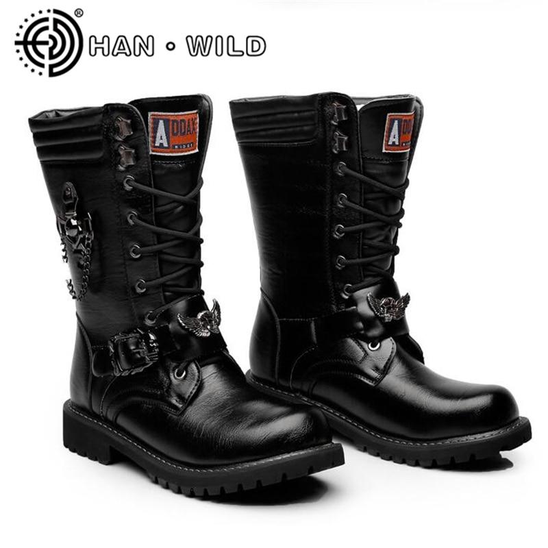 Fivela Exército Tático Preto Botas Do Cano Motocicleta Homens Qualidade De Metal Punk Militar Couro Alta Alto Sapatos w7pPYaq