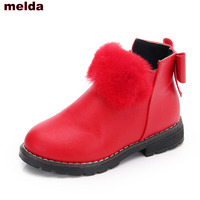 2017 Fashion New Child S Winter Boots Girls Rabbit Hair Boots Kids Shoes For Girl Flower