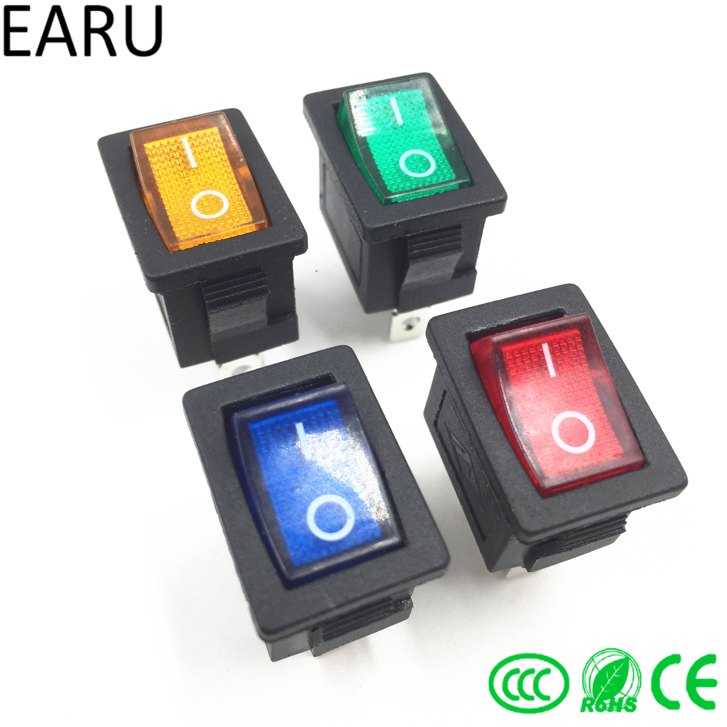 1pc DIY Locking KCD1 Red Blue Yellow Green Button On-Off 3Pin DPST Boat Car Rocker Switch 6A/10A 250V/125VAC Push Button Switch