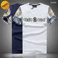 Fashion 2016 Summer Casual V-neck crossfit floral Slim Cotton Knitted Short Sleeve 3D Print Knitted T-shirt Men Plus Size 5XL