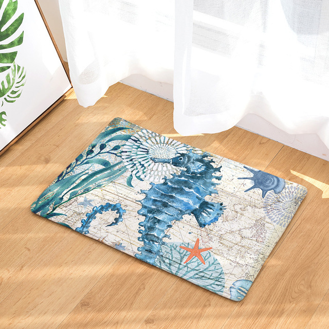 Watercolor Sea Anti-Slip Rug 6