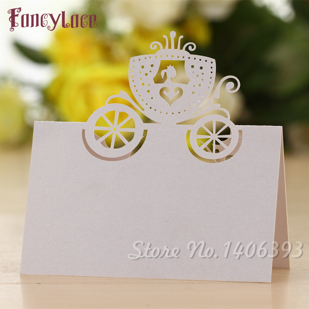 50PCS Party Invitation Decorations Table Cards, Cinderella Pumpkin ...