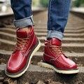 EOFK Moda Casual Hombres Botines Rojos de Alta Calidad Sólido Zapatos Cómodos