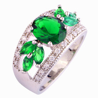 Artistical  Design Women Jewelry Oval Cut Green Emerald Quartz 925 Silver Ring Size 7 8 9 10 11 12 Wholealse Free Shipping