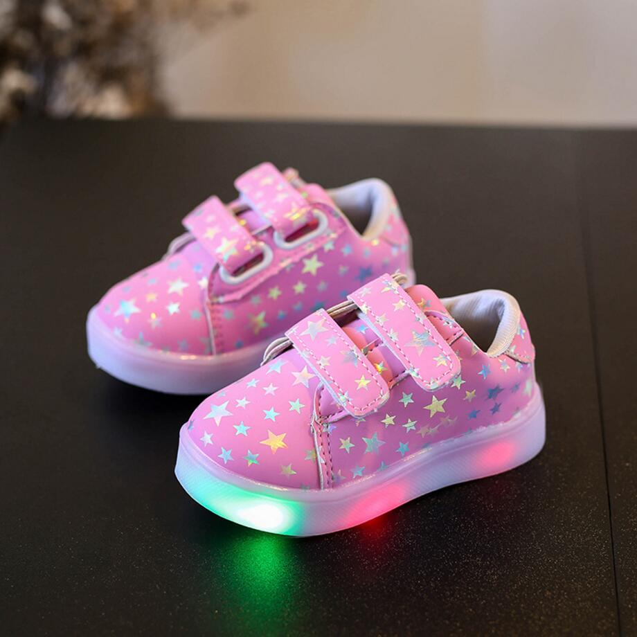 KKABBYII Spring Autumn Kids Shoes Boys Girls LED lighted Sneakers Children's Casual Shoes Shiny Stars Soft Fashion Size 21-30