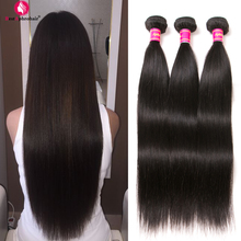 Aphro Brazilian Straight Hair Human Hair 3 Bundle Deals Brazillian Hair Weave Bundles Natural Color # 1b Non Remy Plaukų priauginimas