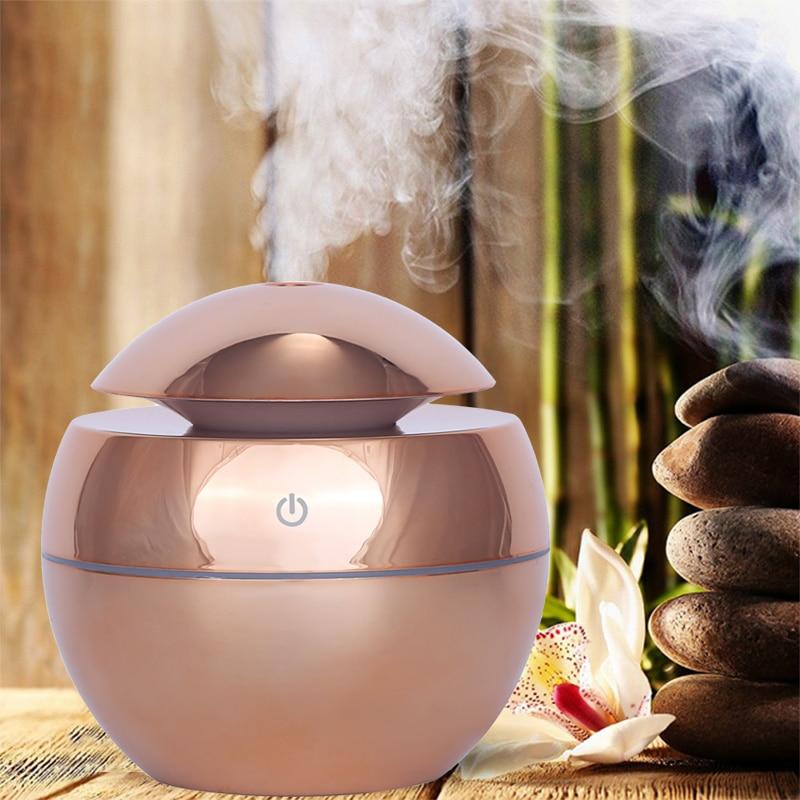 Usb aroma difusor de óleo essencial umidificador ar ultra-sônico casa mini névoa fabricante aroma difusor 130 ml 7 cor led luz escritório