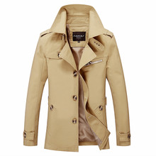цена Men's Spring and Autumn Classic Lapel Solid Color Slim Trench Coat / Medium Long Single-breasted Urban Boutique Trench Coat 5XL