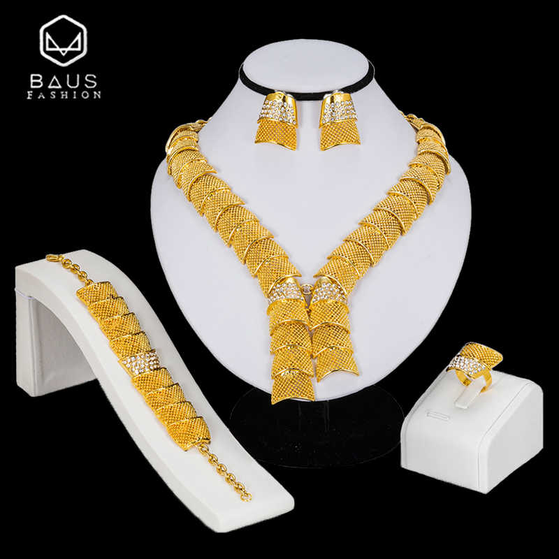 BAUS Bridal Gift Nigerian Wedding African Beads Jewelry Set Wholesale Fashion Woman Ethiopia Dubai Gold Color Jewelry Set Design