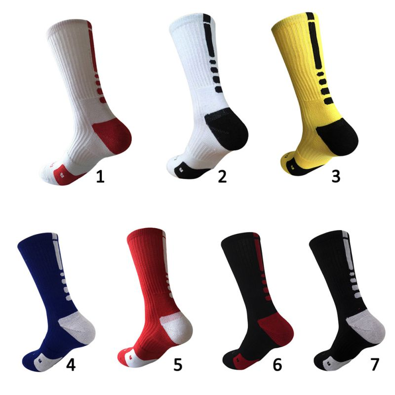 Men Sport Fitness Sports Running Socks Cotton Socks Cushioned Crew-Athletic Dri-Fit Football Basketball