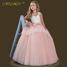 Children's Clothing Girl Lace Floral Eleghant Wedding Dress Kids Dresses for Girls Teenage Mesh Ball Gown Party Tutu Teen Dress