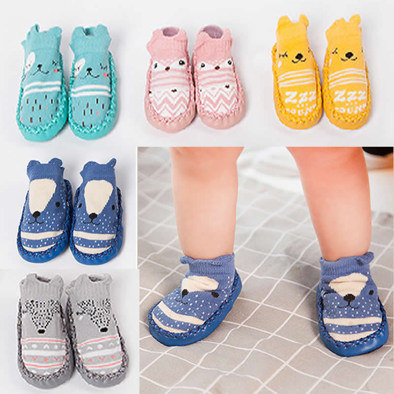Baby Toddler Non-Slip knitting Fox socks Moccasins Slippers Baby Socks Infant Cotton Cartoon Animal Pattern Baby socks