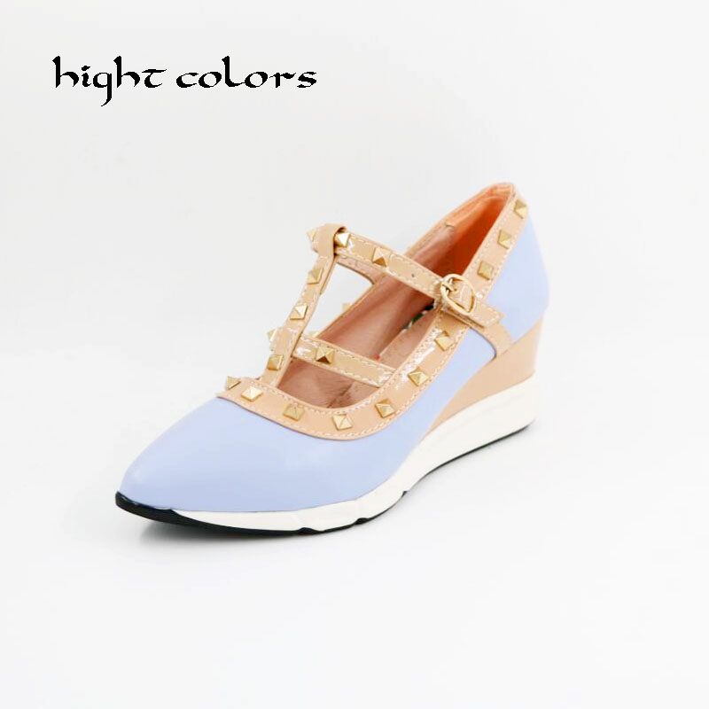 New 2017 Spring Fashion Ankle Strap Pointed Toe T Strap Rivet Side Empty Sexy Thin Heel Shoes Women High Heels Shoes FF1219 new 2017 spring summer women shoes pointed toe high quality brand fashion womens flats ladies plus size 41 sweet flock t179