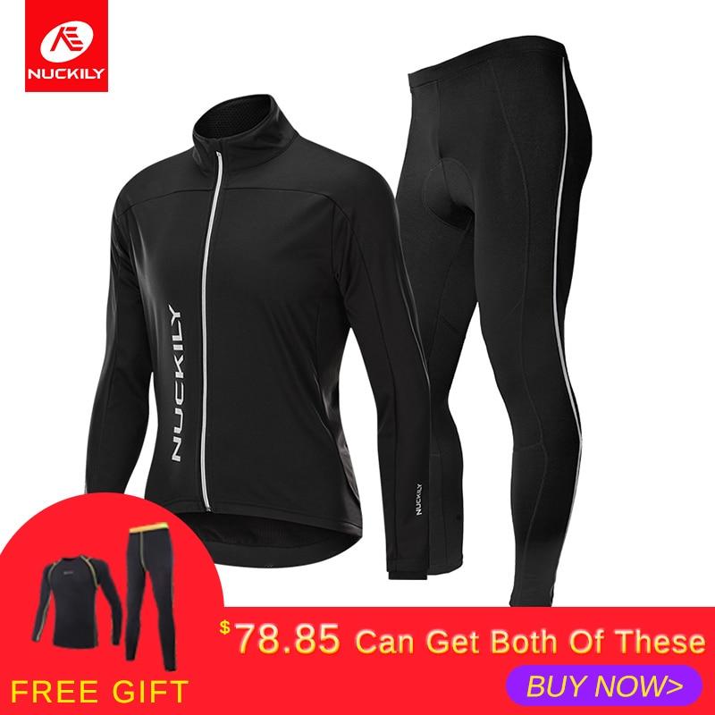 NUCKILY Winter Cycling Clothing Men Cycling Jersey Set Windproof & Rainproof Bicycle Jersey And Gel Pad Pants Bike Wear MI009