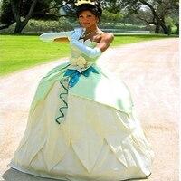 Nowe custom made fantasia halloween kobiety wedding party księżniczka tiana dress dorosłych księżniczka tiana cosplay kostium