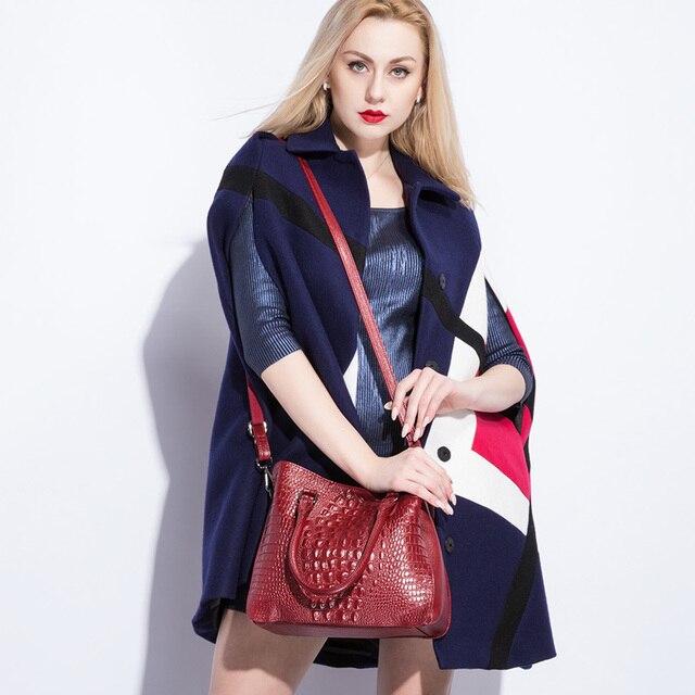 REALER luxury handbags women genuine leather crossbody messenger bags female tote high quality crocodile print ladies top-handle 3