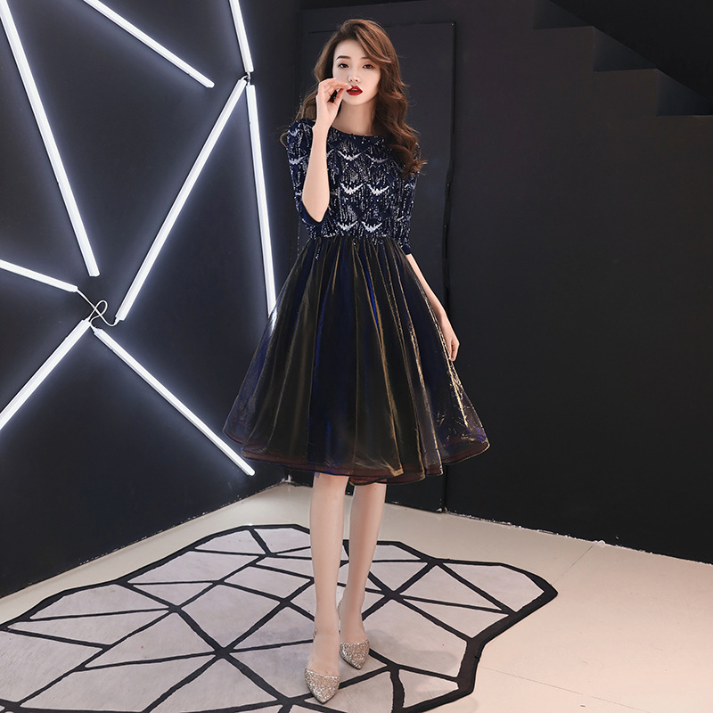 A-line   Cocktail     Dress   Elegant Turtleneck Beading Plus Size Party Gown Lace Illuesion Sequined Zipeer Back Formal Prom   Dress   E389