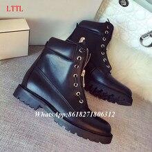 2016 Fall Winter Laiga Leather Velvet Ankle Boots Metal Grommets Zip Motorcycle Combat Booties Women Flats Big Size Black Pink
