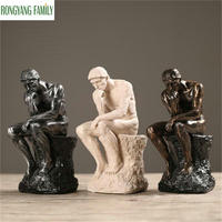 2019 Rodin the Thinker Statue And Sculpture Fine Art Male Nude Figure European Resin Figurine Room Home Decoration Crafts Gift