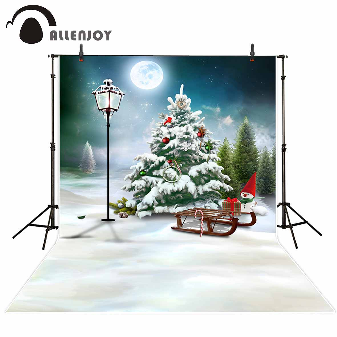 Allenjoy photography background Snow winter Christmas tree cartoon sled full moon background photo studio camera fotografica