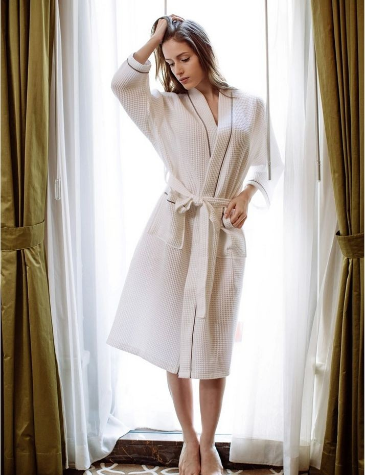 Women\'s Mid-Calf Cotton Sleep Lounge Robes RBS-D RB26 10