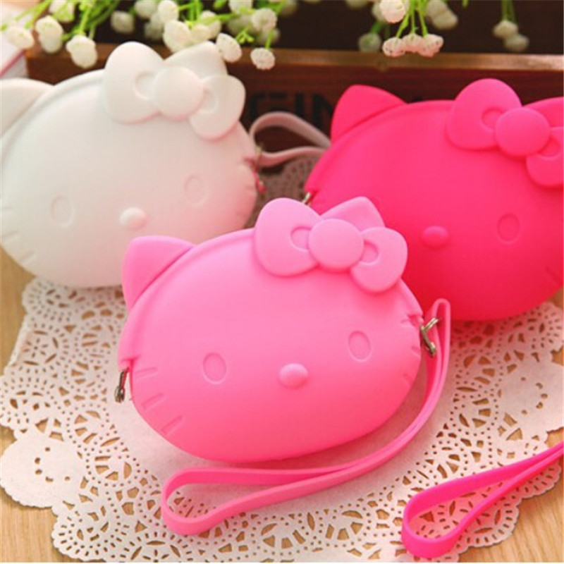 Cartoon Cute  Silicone Coin Purse Women's Handbags Pouch Case  Beauty Holder Wrist Wallets for girls Gift new cute hello kitty handbag pink red girls purse cartoon cat coin bag ladies keychain wallets zipper key holder cash case