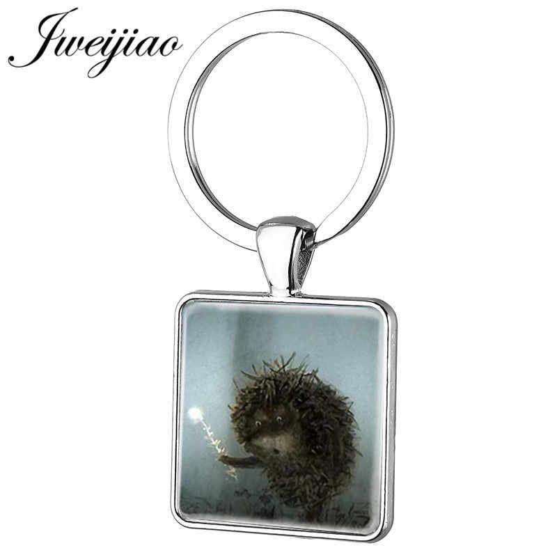 JWEIJIAO мода мультфильм животное Ежик в тумане брелок ключи кольцо ручной работы на заказ квадратная бижутерия со стеклянными кабошонами подарок HF16