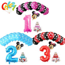 13pcs/lot mickey minnie mouse foil balloons number 1 2 3 foil ballons mini cake globos baby shower birthday party decor supplies(China)