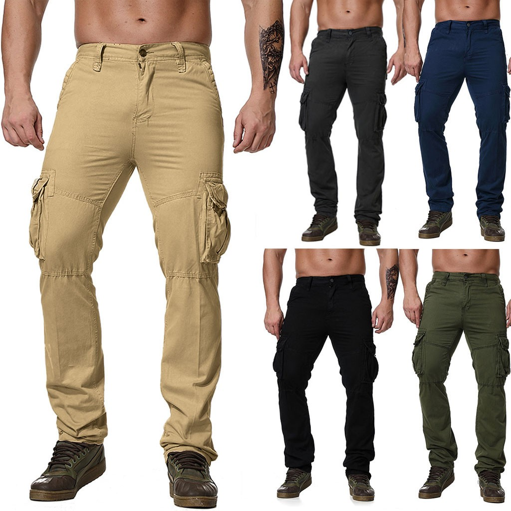 Autumn New Men's Slim Straight Trousers Fashion Multi-pocket Overalls Military Wind High Quality Dropshiping W606